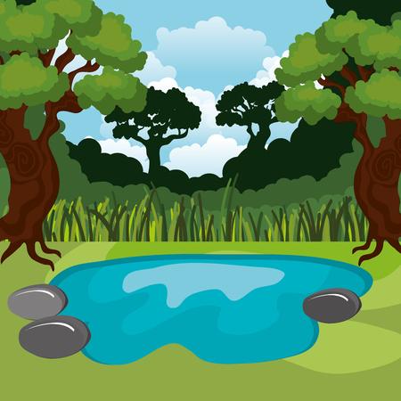 Regenwoud jungle natuurlijke scène vector illustratie ontwerp Stockfoto - 101665579
