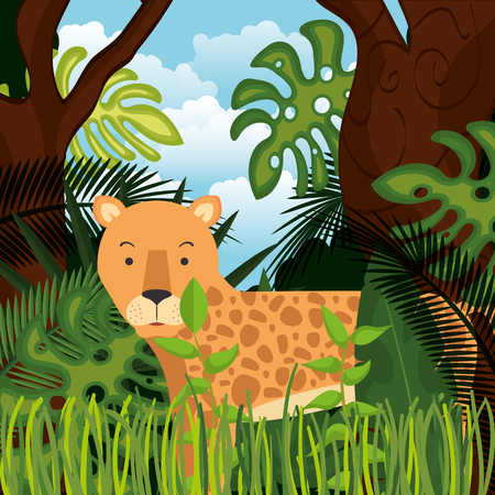 wild cheetah in the jungle scene vector illustration design