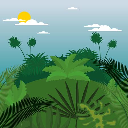 rainforest jungle natural scene vector illustration design 写真素材 - 101665585