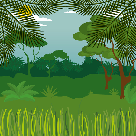 rainforest jungle natural scene vector illustration design Reklamní fotografie - 101666766