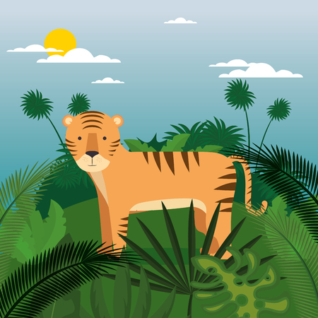 wild in the jungle scene vector illustration design  イラスト・ベクター素材