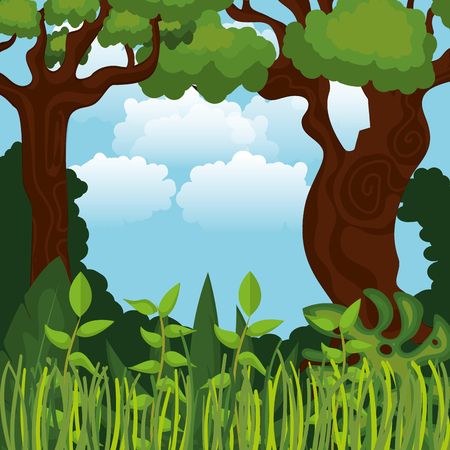 rainforest jungle natural scene vector illustration design Reklamní fotografie - 101670213