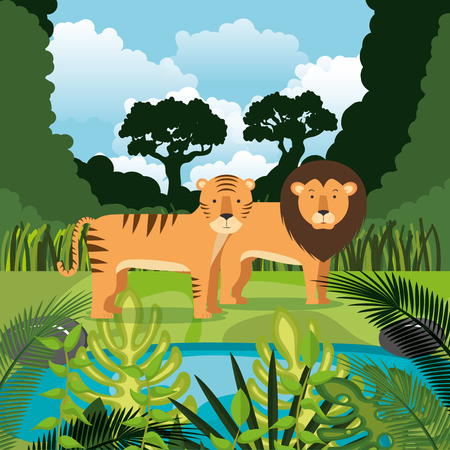 wild animals in the jungle scene vector illustration design Stok Fotoğraf - 101670223