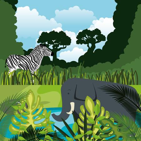 wild animals in the jungle scene vector illustration design Stock Illustratie