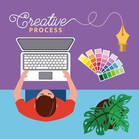 designer working creative process at desk with laptop vector illustration