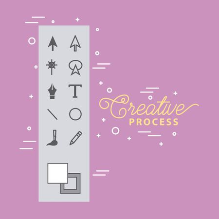 working process tools digital graphic design vector illustration