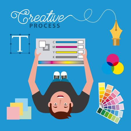 young man designer holding pantone colors creative process top view vector illustration
