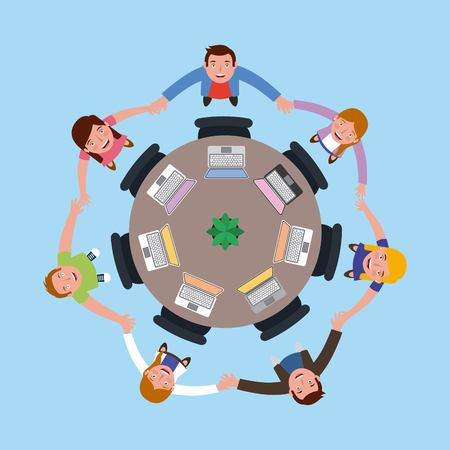 people designers meeting holading hands on the round table in top view vector illustration vector illustration