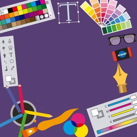 graphic designer icons creative process set vector illustration