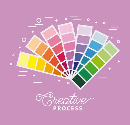 creative process palette guide to match colors vector illustration