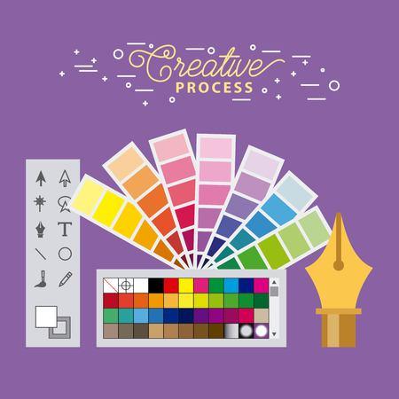set creative process working tools graphic design vector illustration