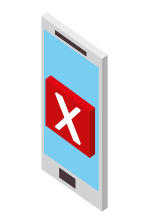 smartphone error danger web isometric vector illustration Foto de archivo - 101680596