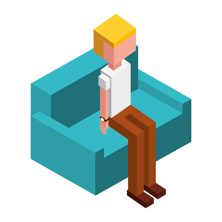 man character sitting on sofa isometric vector illustration Illustration