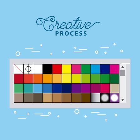 color sampler working process tools vector illustration Illustration