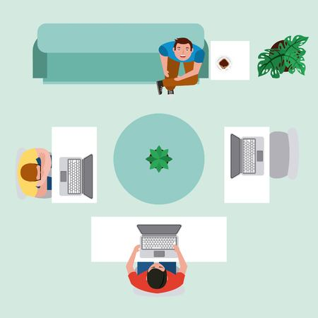 top view men in workspace with computer and sitting sofa drink coffee vector illustration Illustration