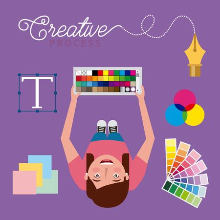 young woman designer holding pantone swatch colors creative process top view vector illustration