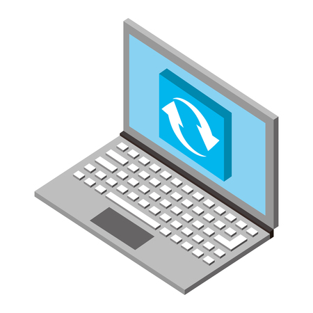 laptop computer refresh data isometric vector illustration