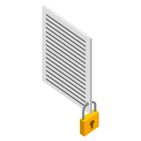 document file security protection isometric vector illustration