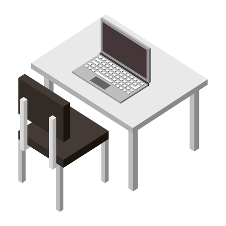 workplace desk with laptop and chair furniture vector illustration