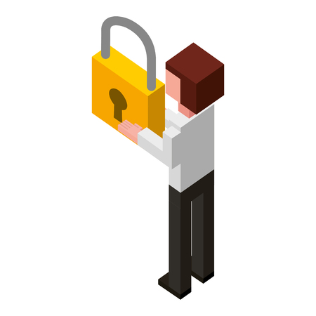 back view businessman with padlock in hands isometric vector illustration