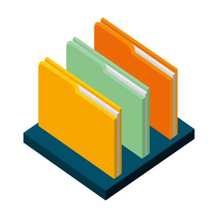 dossier fichier archive de document sur étagère illustration vectorielle isométrique