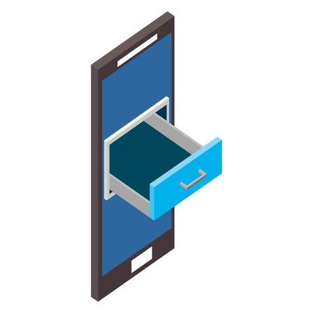 illustration vectorielle isométrique de rangement tiroir armoire smartphone