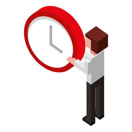 businessman holding clock time back view isometric vector illustration