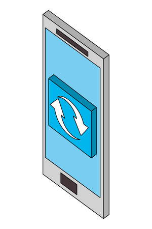 smartphone reload arrows button web isometric vector illustration Banque d'images - 101691954