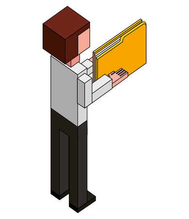 businessman with folder documents in hands back view isometric vector illustration Stock Illustratie