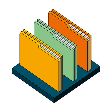 folder file document archive on shelf isometric vector illustration