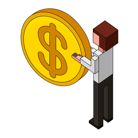 back view businessman holding dollar coin isometric vector illustration