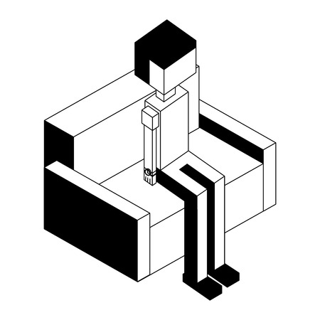 man character sitting on sofa isometric vector illustration black and white