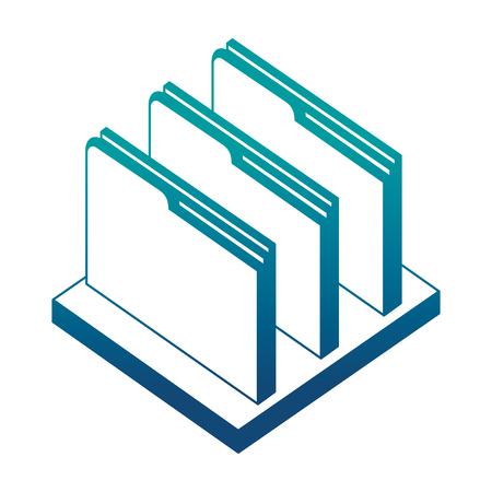 folder file document archive on shelf isometric vector illustration neon