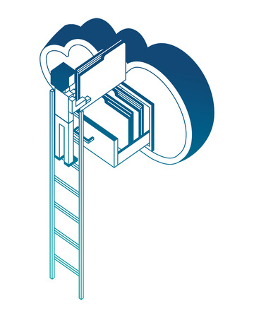 businessman in stairs putting document file folders in the cloud computing storage isometric vector illustration neon