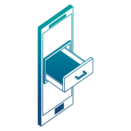 smartphone cabinet drawer storage isometric vector illustration neon
