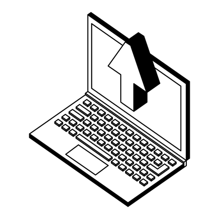 laptop upload browsing data isometric vector illustration black and white