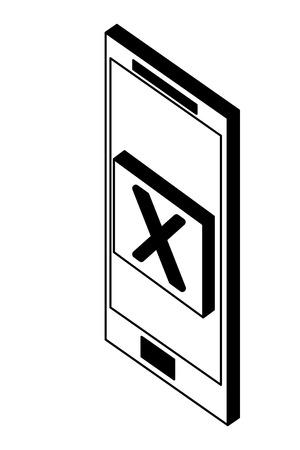 smartphone error danger web isometric vector illustration black and white