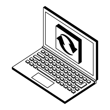 laptop computer refresh data isometric vector illustration black and white Illustration