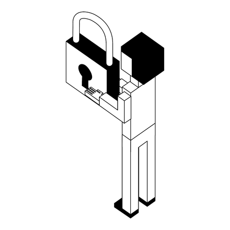 back view businessman with padlock in hands isometric vector illustration black and white