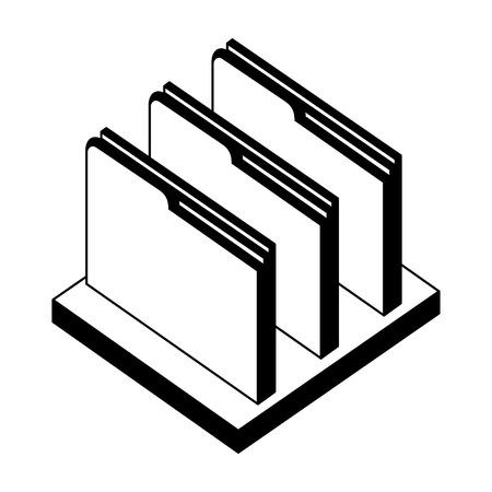 folder file document archive on shelf isometric vector illustration black and white