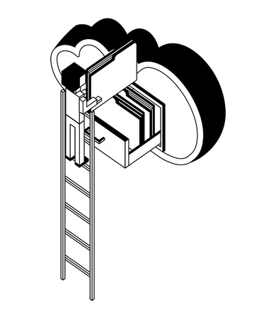 businessman in stairs putting document file folders in the cloud computing storage isometric vector illustration black and white