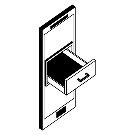 smartphone cabinet drawer storage isometric vector illustration black and white Stok Fotoğraf - 101680938