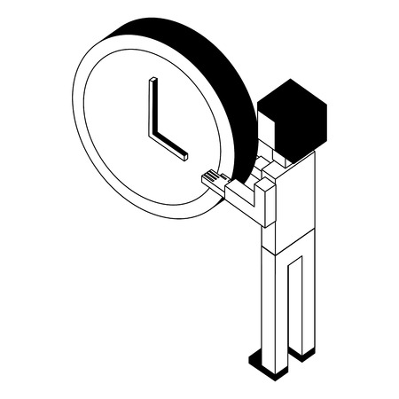 businessman holding clock time back view isometric vector illustration black and white