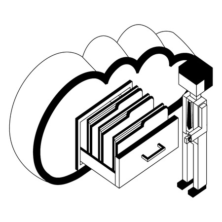 businessman and cloud computing cabinet files isometric vector illustration black and white