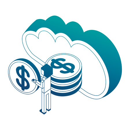 man holding dollar coin and cloud computing storage money isometric vector illustration neon Illustration