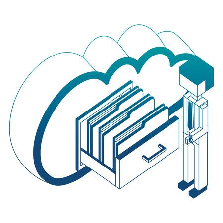 homme d & # 39; affaires et le cloud computing cabinet fichiers néon illustration vectorielle isométrique