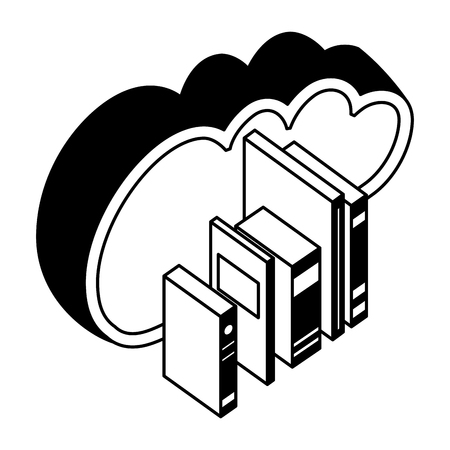 cloud computing collection books isometric vector illustration black and white Ilustracja