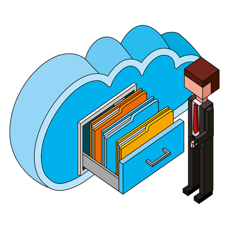 businessman and cloud computing cabinet files isometric vector illustration