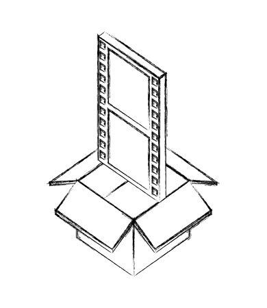 storage box with film strip movie isometric vector illustration sketch
