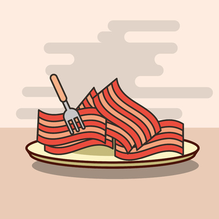 delicious pieces of bacon in dish with fork vector illustration